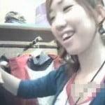 【胸チラ盗撮】笑顔の可愛い童顔ショップ店員さんのピンクのB地区撮影に成功!