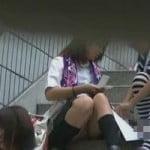 【パンチラ隠撮】階段に座る女性は常に盗撮師に狙われる
