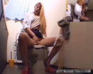 【オナニー隠撮】従業員トイレ隠し撮り 昼休憩中にトイレに籠ってオナってた同僚スタッフの撮影に成功!