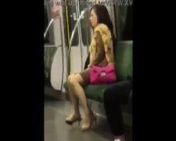 【オナニー】やべぇwww電車の中でオナってるおばさん発見www