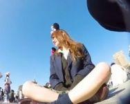 【パンチラ盗撮】カメラを仕込んで夢の国に潜入!友達とデートを楽しむ女子校生に密着!隠しカメラを思いっきり蹴られるハプニング有www