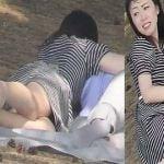 彼氏とピクニック中の女性